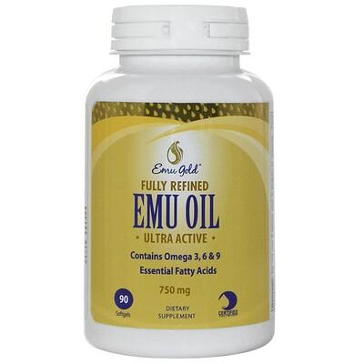 Emu Gold Полностью рафинированное ультра активное масло Эму, 750 мг, 90 мягких гелевых капсул