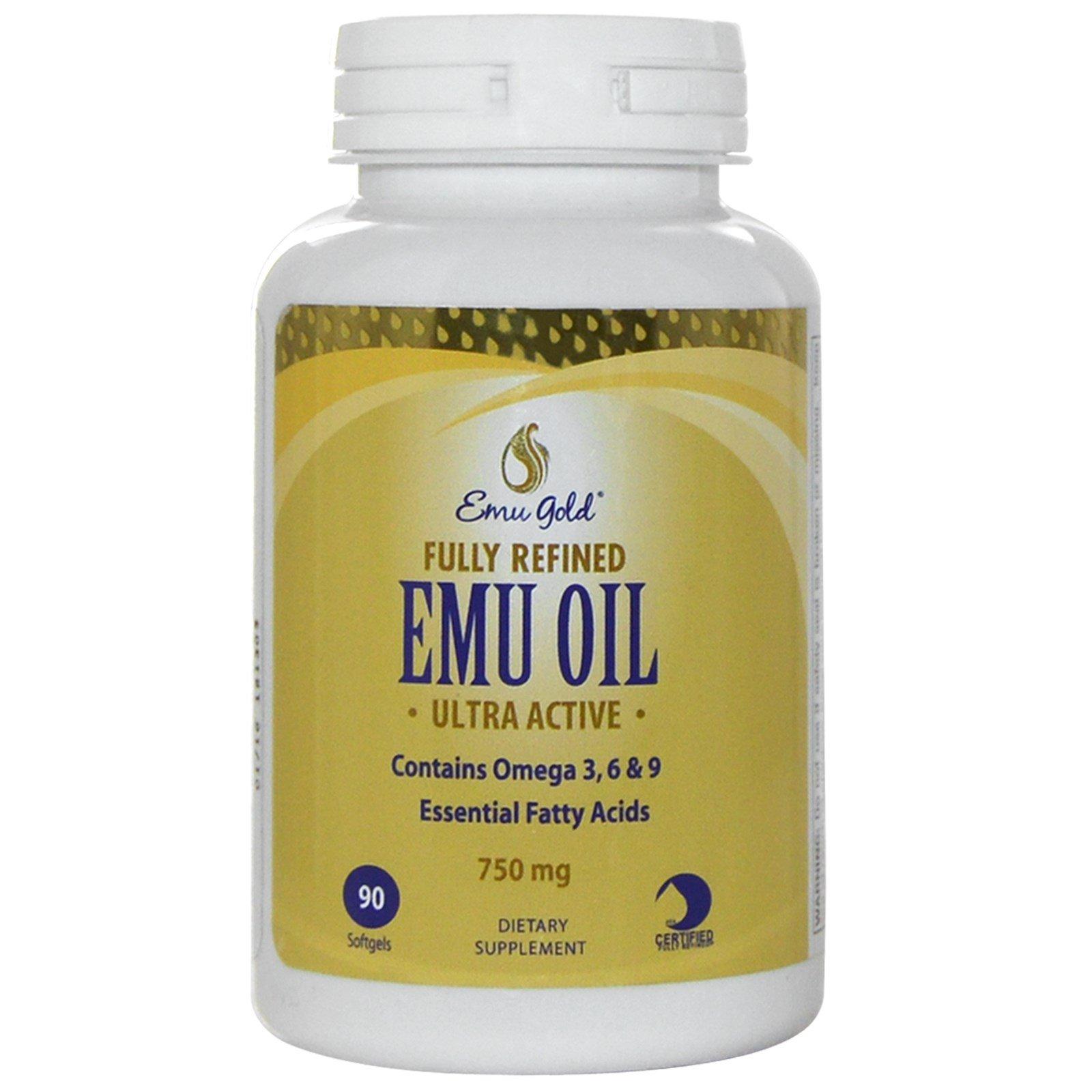 Emu Gold, Полностью рафинированное ультра активное масло Эму, 750 мг, 90 мягких гелевых капсул
