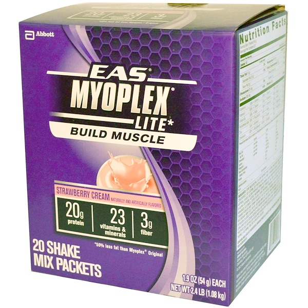 EAS, MyoPlex Lite Build Muscle Shake Mix, Strawberry Cream, 20 Packets, 1.9 oz (54 g) Each (Discontinued Item)