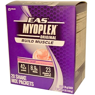 EAS, MyoPlex, Original, Shake Mix, Strawberry Cream, 20 Packets, 2.7 oz (78 g) Each