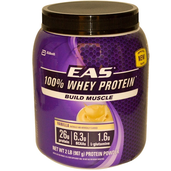 EAS, 100% Whey Protein Powder, Vanilla, 2 lbs (907 g) (Discontinued Item)