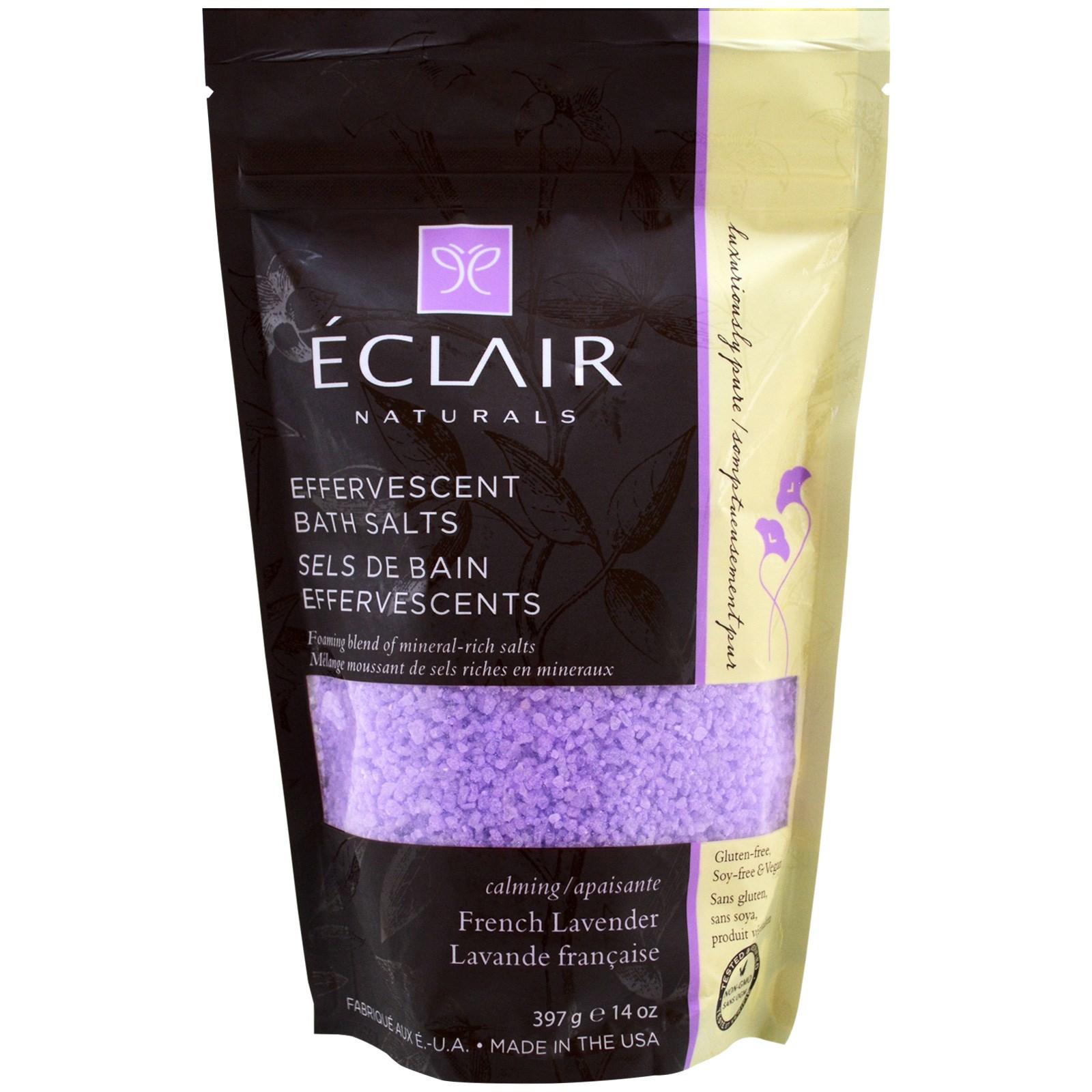 Eclair Naturals, Шипучие соли для ванной, французская лаванда, 14 унций (397 г)