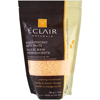 Eclair Naturals, Effervescent Bath Salts, Vanilla & Sweet Orange, 14 oz (397 g)