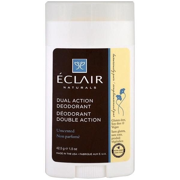 Eclair Naturals, デュアルアクション・デオドラント、無香、1.5オンス (42.5 g) (Discontinued Item)