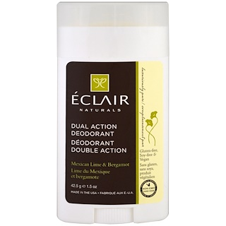 Eclair Naturals, Дезодорант двойного действия, мексиканский лайм и бергамот, 1,5 унц. (42,5 г)
