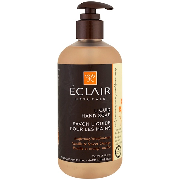 Eclair Naturals, 液体ハンドソープ, バニラ & スウィートオレンジ, 12液量オンス (355 ml)
