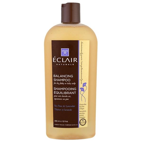 Eclair Naturals, 平衡洗髮露,茶樹和薰衣草,12液量盎司(355毫升)