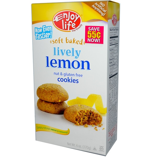 Enjoy Life Foods, Soft Baked, Lively Lemon Cookies, Nut & Gluten Free, 6 oz (170 g) (Discontinued Item)