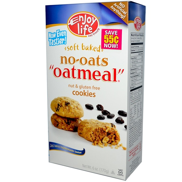 "Enjoy Life Foods, Soft Baked, No-Oats, ""Oatmeal"" Cookies, Nut & Gluten Free, 6 oz (170 g) (Discontinued Item)"