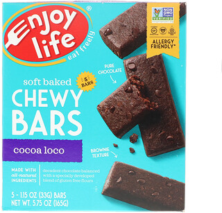 Enjoy Life Foods, Soft Baked Chewy Bars, Cocoa Loco, 5 Bars, 1.15 oz (33 g) Each