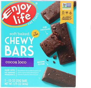 Энджой Лайф фудс, Soft Baked Chewy Bars, Cocoa Loco, 5 Bars, 1.15 oz (33 g) Each отзывы покупателей