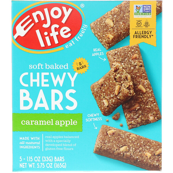 Enjoy Life Foods, Soft Baked Chewy Bars, Caramel Apple, 5 Bars, 1.15 oz (33 g) Each (Discontinued Item)