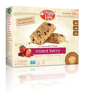 Enjoy Life Foods, Baked Chewy Bars, Mixed Berry, 5 Bars, 1 oz (28 g) Each