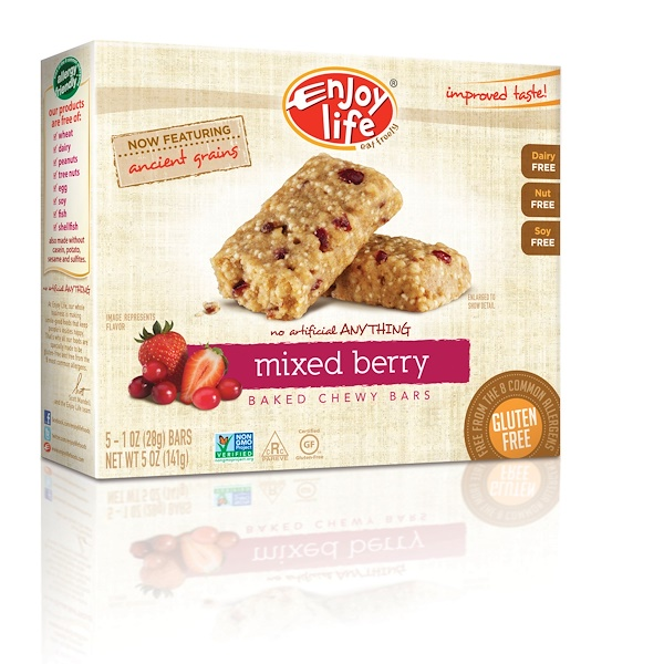 Enjoy Life Foods, Baked Chewy Bars, Mixed Berry, 5 Bars, 1 oz (28 g) Each (Discontinued Item)