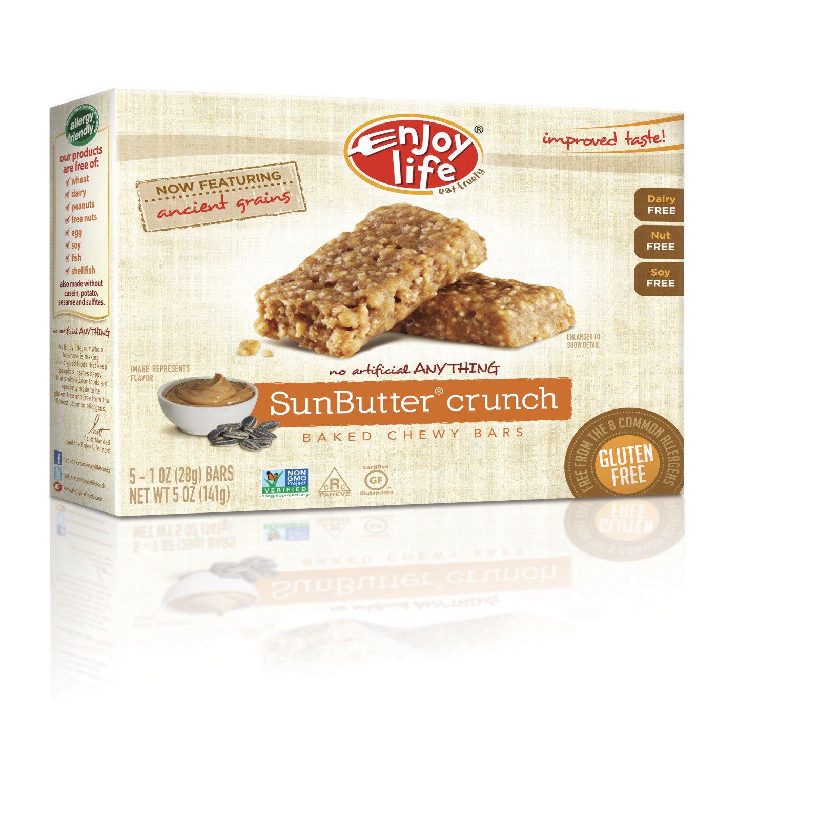 Enjoy Life Foods, Запеченные жевательные батончики, хрустящий Sunbutter, 5 батончиков, по 1 унции (28 гр) каждый