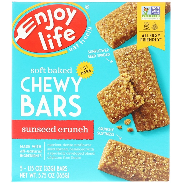 Enjoy Life Foods, Soft Baked Chewy Bars, Sunseed Crunch, 5 Bars, 1.15 oz (33 g) Each (Discontinued Item)