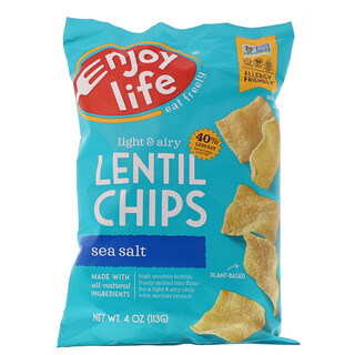 Enjoy Life Foods, Light & Airy Lentil Chips, Sea Salt, 4 oz (113 g)