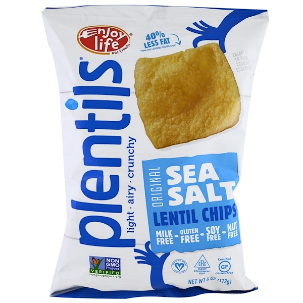Enjoy Life Foods, Plentils, Sea Salt Lentil Chips, Original, 4 oz (113 g)
