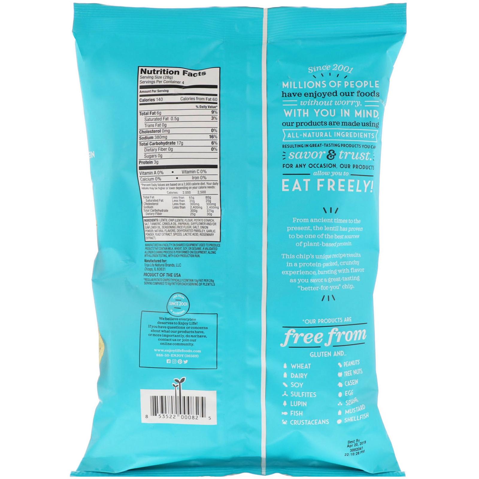 ba1a43116 Enjoy Life Foods, Light & Airy Lentil Chips, Garlic & Parmesan ...