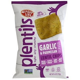 Enjoy Life Foods, Plentils, Lentil Chips, Garlic & Parmesan,  4 oz (113 g)