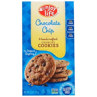 Enjoy Life Foods, Handcrafted Crunchy Cookies, Chocolate Chip, 6.3 oz (179 g)