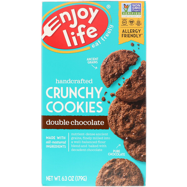 Enjoy Life Foods, Handcrafted Crunchy Cookies, Double Chocolate, 6.3 oz (179 g) (Discontinued Item)