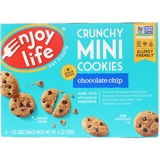 Enjoy Life Foods, Crunchy Mini Cookies, Chocolate Chip, 6 Snack Packs, 1 oz (28 g) Each