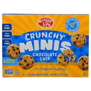 Enjoy Life Foods, クルンチーミニス, チョコレートチップスナックパック, 6袋 (各1個入り), 各1オンス (28 g)
