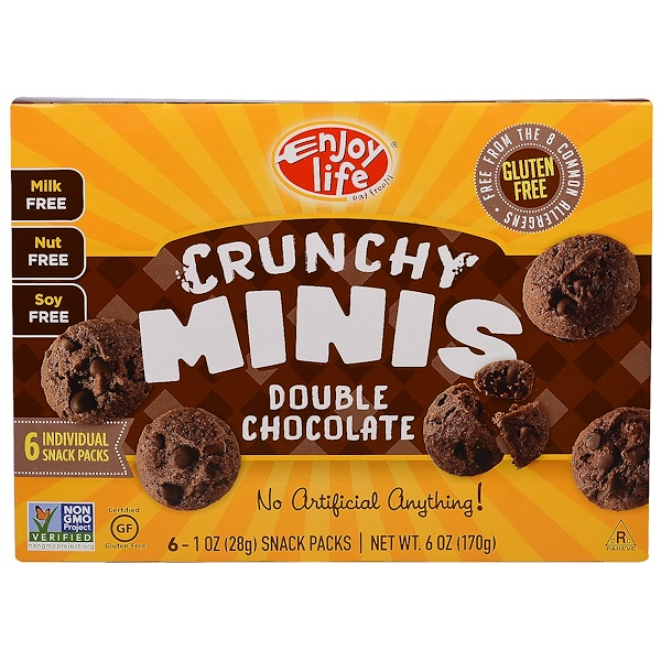 Enjoy Life Foods, Crunchy Minis, Double Chocolate Individual Snack Packs, 6 - 1 oz (28 g) Each (Discontinued Item)