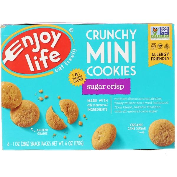 Enjoy Life Foods, Crunchy Mini Cookies, Sugar Crips, 6 Packs, 1 oz (28 g) Each (Discontinued Item)