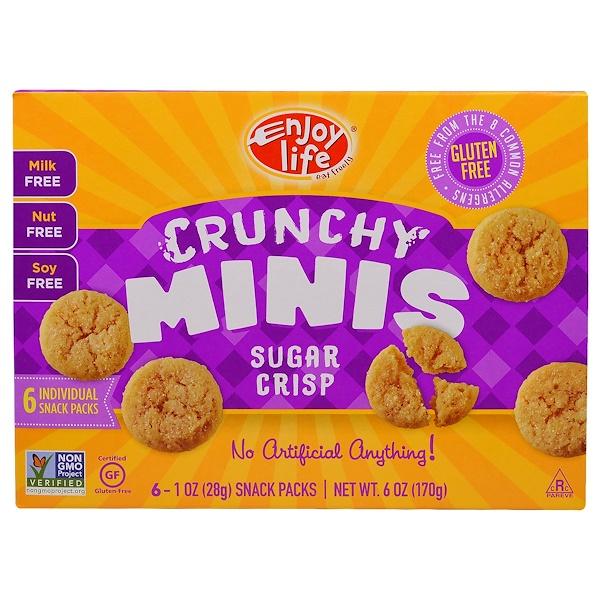 Enjoy Life Foods, クルンチーミニス, シュガークリスプチップスナックパック, 6袋 (各1個入り), 各1オンス (28 g)