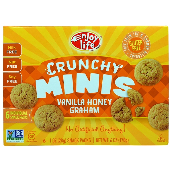 Enjoy Life Foods, Crunchy Minis, Vanilla Honey Graham Individual Snack Packs, 6 - 1 oz (28 g) Each (Discontinued Item)