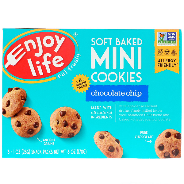 Enjoy Life Foods, Soft Baked Mini Cookies, Chocolate Chip, 6 Snack Packs, 1 oz (28 g) Each