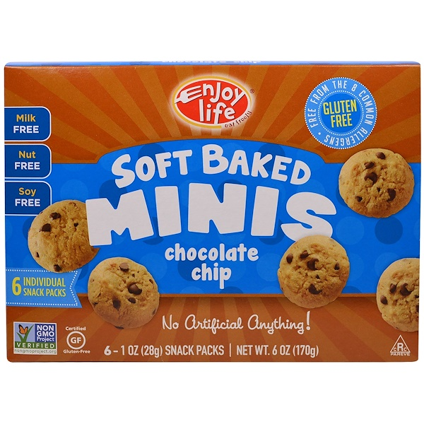Enjoy Life Foods, Soft Baked Minis, Chocolate Chip, 6 Snack Packs, 1 oz (28 g) Each