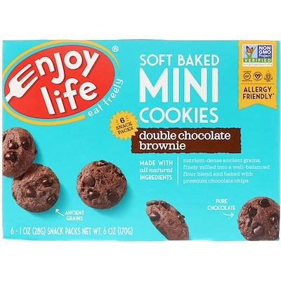 Мягкое печенье, брауни с двойным шоколадом, 6 упаковок снеков, 1 oz (28 г) каждый lambertz world cookies munich печенье с шоколадом 100 г