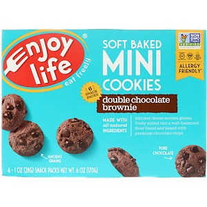 Энджой Лайф фудс, Soft Baked Mini Cookies, Double Chocolate Brownie, 6 Snack Packs, 1 oz (28 g) Each отзывы покупателей