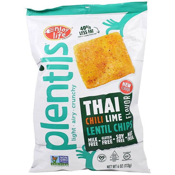 Enjoy Life Foods, Plentils, Lentil Chips, Thai Chili Lime Flavor, 4 oz (113 g)