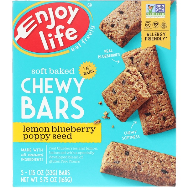 Enjoy Life Foods, Soft Baked Chewy Bars, Lemon Blueberry Poppy Seed, 5 Bars, 1.15 oz (33 g) Each (Discontinued Item)