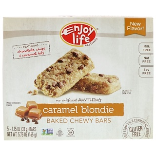 Enjoy Life Foods, Baked Chewy Bars, Caramel Blondie, 5 Bars, 1.15 oz (33 g) Each
