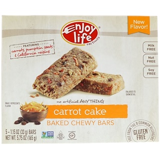 Enjoy Life Foods, Baked Chewy Bars, Carrot Cake, 5 Bars, 1.15 oz (33 g) Each