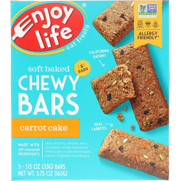 Enjoy Life Foods, Soft Baked Chewy Bars, Carrot Cake, 5 Bars, 1.15 oz (33 g) Each (Discontinued Item)