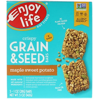 Enjoy Life Foods, Crispy Grain & Seed Bars, Maple Sweet Potato, 5 Bars, 1 oz (28 g) Each