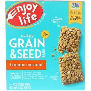 Enjoy Life Foods, クリスピー穀物 & シードバー、バナナキャラメル、5本、各1オンス (28 g)