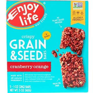 Enjoy Life Foods, クリスピー グレイン & シード バー、クランベリー オレンジ、5本、各1 oz (28 g)
