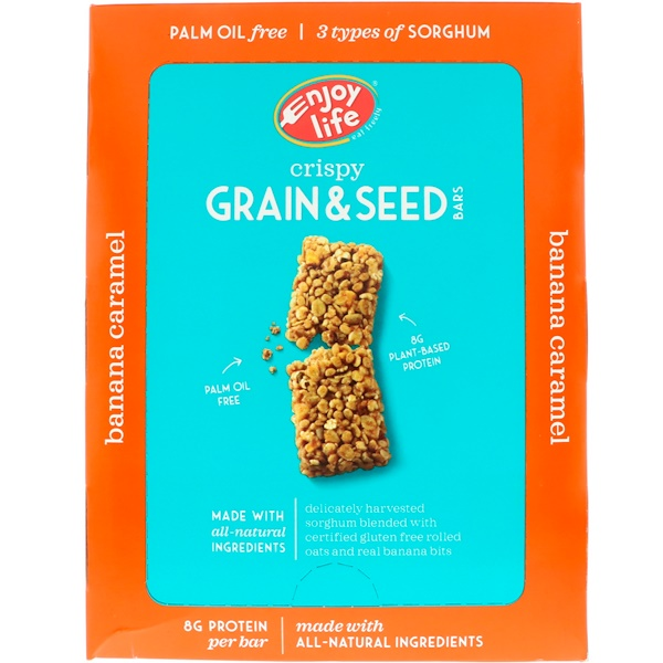 Enjoy Life Foods, Crispy Grain & Seed Bars, Banana Caramel, 12 Bars, 1.76 oz (50 g) Each (Discontinued Item)