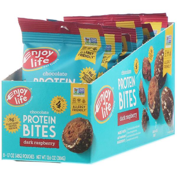 Enjoy Life Foods, Chocolate Protein Bites, Dark Raspberry, 8 Pouches, 1.7 oz (48 g) Each (Discontinued Item)