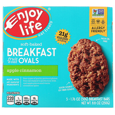 Купить Enjoy Life Foods Овальные мягкие печенья с фруктами и овсянкой, яблоко и корица, 5штук, 50г (1, 76 унции) каждое