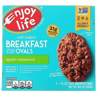Enjoy Life Foods, Soft-Baked Breakfast Fruit & Oat Ovals, Apple Cinnamon, 5 Bars, 1.76 oz (50 g) Each