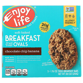 Enjoy Life Foods, Soft-Baked Breakfast Fruit & Oat Ovals, Chocolate Chip Banana, 5 Bars, 1.76 oz (50 g) Each