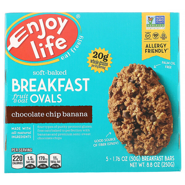 Enjoy Life Foods, Soft-Baked Breakfast Fruit & Oat Ovals, Banana com Gotas de Chocolate, 5 Barras, 50 g (1,76 oz) Cada
